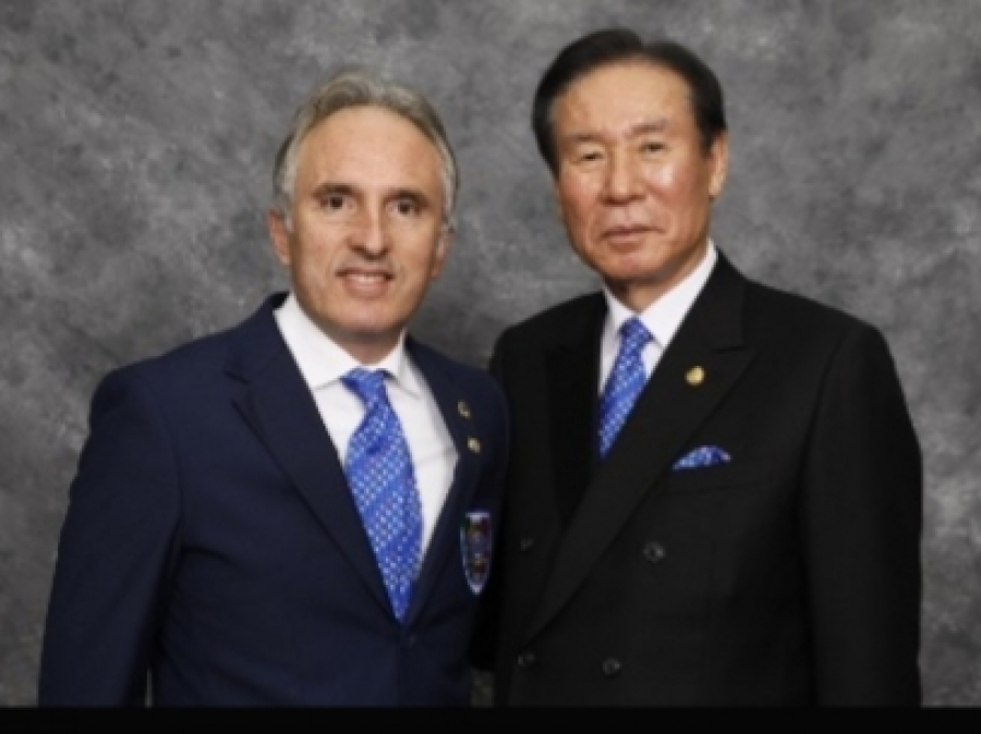 Il Governatore del Distretto 108 Yb Sicilia del Lions Club International Angelo Collura e il Presidente Internazionale Jung-Yul Choi